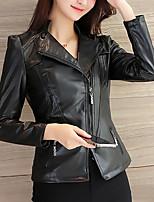 Недорогие -Жен. Кожаные куртки Классический / Изысканный - Однотонный