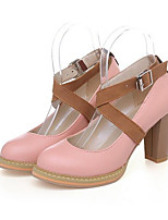 Недорогие -Жен. Комфортная обувь Полиуретан Весна Обувь на каблуках На толстом каблуке Белый / Лиловый / Розовый