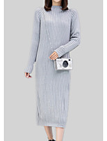 cheap -Women's Long Sleeve Cotton Slim Long Pullover - Solid Colored / Striped Stand / Fall / Winter