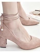 Недорогие -Жен. Комфортная обувь Замша Весна & осень Обувь на каблуках На толстом каблуке Черный / Розовый / Хаки