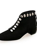 Недорогие -Жен. Fashion Boots Замша Наступила зима Английский Ботинки На низком каблуке Ботинки Черный / Для вечеринки / ужина
