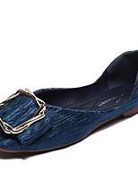 Недорогие -Жен. Комфортная обувь Полиуретан Осень На плокой подошве На плоской подошве Круглый носок Черный / Синий