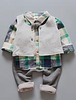 Недорогие -Дети (1-4 лет) Мальчики Однотонный Длинный рукав Набор одежды