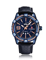 cheap -NAVIFORCE Men's Sport Watch Military Watch Japanese Japanese Quartz 30 m Water Resistant / Water Proof Calendar / date / day Shock Resistant Genuine Leather Band Analog Luxury Fashion Black / Blue