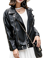 Недорогие -Жен. Кожаные куртки Однотонный, Хлопок / Искусственная кожа