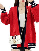 cheap -Women's Going out Long Sleeve Cardigan - Solid Colored / Color Block