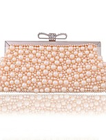 cheap -Women's Bags Polyester / PU(Polyurethane) Evening Bag Bow(s) / Pearls Champagne / White