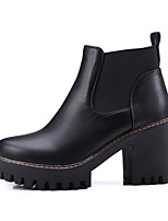 Недорогие -Жен. Комфортная обувь Полиуретан Наступила зима Ботинки На толстом каблуке Белый / Черный / Коричневый