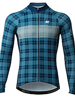 cheap -Mysenlan Men's Long Sleeve Cycling Jersey - Blue Bike Jersey Polyester / YKK Zipper