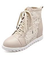 Недорогие -Жен. Обувь Полиуретан Наступила зима Удобная обувь Ботинки Платформа Белый / Черный / Бежевый