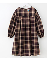 cheap -Kids Girls' Basic / Cute Plaid Print Long Sleeve Knee-length Dress / Cotton