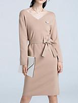 Недорогие -Жен. Классический Тонкие Трикотаж Платье - Однотонный V-образный вырез До колена