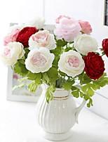 baratos -Flores artificiais 5 Ramo Clássico / Solteiro (L150 cm x C200 cm) Estiloso / Pastoril Estilo Peônias Flor de Mesa