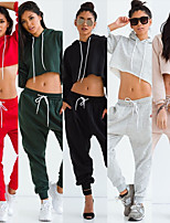 cheap -Women's Cropped 2pcs Tracksuit - Red, Grey, Khaki Sports Solid Color Woven Pants / Crop Sweater / Cropped Sweater Yoga, Fitness, Gym Long Sleeve Activewear Thermal / Warm, Wearable, Soft Micro-elastic