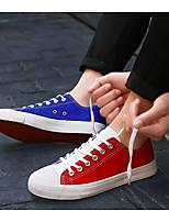 """Недорогие -Муж. Обувь для новинок Полотно Весна / Осень Стиль """"Школьная форма"""" Кеды Контрастных цветов Белый / Оранжевый / Синий"""