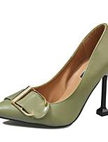 baratos -Mulheres Stiletto Couro Ecológico Verão Minimalismo Saltos Salto Agulha Dedo Apontado Preto / Verde