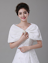 cheap -Sleeveless Faux Fur Wedding / Party / Evening Women's Wrap With Faux Pearl / Crystal Brooch / Ruching Capelets