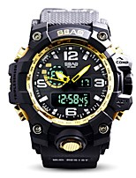 cheap -Men's Sport Watch Digital Watch Digital 30 m Water Resistant / Water Proof Calendar / date / day Stopwatch Silicone Band Analog-Digital Luxury Casual Black / Yellow - Blue / Black Black / Gold Black