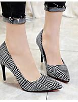 Недорогие -Жен. Обувь Полиуретан Весна & осень Удобная обувь / Туфли лодочки Обувь на каблуках На шпильке Черный / Серый