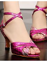 Недорогие -Жен. Обувь для латины Полиуретан На каблуках Тонкий высокий каблук Танцевальная обувь Пурпурный