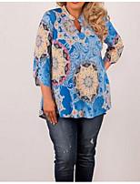 Недорогие -Жен. Блуза Хлопок, V-образный вырез Однотонный / Геометрический принт