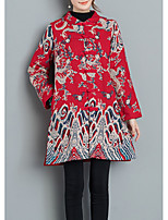 cheap -Women's Cotton Trench Coat - Geometric Stand