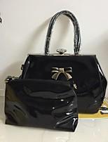 economico -Per donna Sacchetti PU Tote Set di borsa da 2 pezzi Cerniera / Decorazioni in rilievo Nero