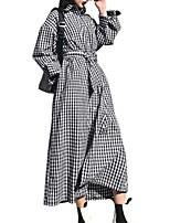 cheap -Women's Trench Coat - Houndstooth Shirt Collar