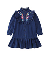 cheap -Kids Girls' Sweet Floral Ruffle Long Sleeve Midi Dress / Cotton