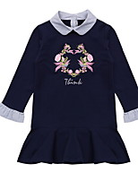 cheap -Kids Girls' Cute Solid Colored / Floral Long Sleeve Dress