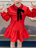 baratos -Infantil Para Meninas Retalhos Manga Longa Vestido