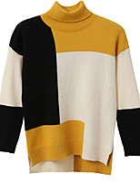 cheap -women's long sleeve cotton loose pullover - color block turtleneck