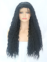 cheap -Synthetic Lace Front Wig Curly Middle Part Synthetic Hair 24-26 inch Adjustable / Heat Resistant Black Wig Women's Long Lace Front Natural Black / Yes