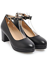 Недорогие -Жен. Обувь Полиуретан Весна Туфли лодочки Обувь на каблуках На толстом каблуке Черный / Бежевый / Розовый