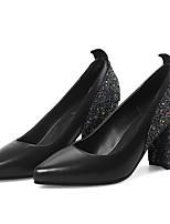 Недорогие -Жен. Полиуретан Весна На каждый день Обувь на каблуках На толстом каблуке Белый / Черный / Красный