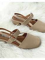 baratos -Mulheres Sapatos Confortáveis Couro Ecológico Verão Saltos Salto Robusto Bege / Amêndoa