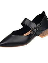 Недорогие -Жен. Полиуретан Лето Туфли лодочки Обувь на каблуках На низком каблуке Заостренный носок Бант Черный / Серый / Хаки