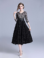cheap -Women's Elegant A Line / Swing Dress Lace Trims