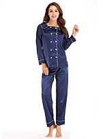 cheap -Women's Square Neck Suits Pajamas Solid Colored