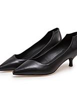 Недорогие -Жен. Балетки Наппа Leather Осень Обувь на каблуках На шпильке Белый / Черный / Миндальный