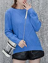 Недорогие -Жен. Длинный рукав Пуловер - Однотонный