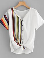 baratos -Mulheres Camiseta Básico Listrado / Estampa Colorida