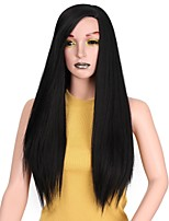 cheap -Synthetic Extentions Straight Layered Haircut Synthetic Hair 22 inch Extention Black Wig Women's Long Capless Black