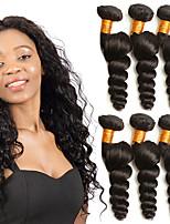Недорогие -3 Связки Индийские волосы Свободные волны Натуральные волосы Подарки / Головные уборы / Человека ткет Волосы 8-28 дюймовый Черный Естественный цвет Ткет человеческих волос Машинное плетение