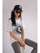 cheap -Women's Street chic T-shirt - Polka Dot / Geometric Print