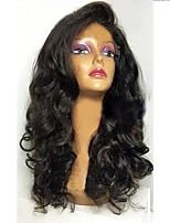 Недорогие -Не подвергавшиеся окрашиванию Лента спереди Парик Бразильские волосы Свободные волны Парик Стрижка каскад 150% Природные волосы / Для темнокожих женщин Черный Жен. Длинные