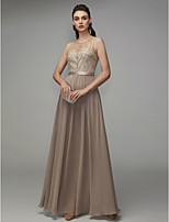 cheap -A-Line Jewel Neck Floor Length Chiffon Formal Evening Dress with Beading by TS Couture®