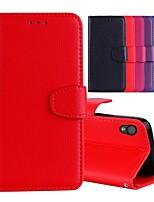 Недорогие -Кейс для Назначение Sony Xperia L1 Бумажник для карт / со стендом / Флип Чехол Однотонный Твердый Кожа PU для Sony Xperia L1