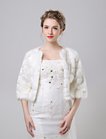 cheap -3/4 Length Sleeve Faux Fur Wedding / Party / Evening Women's Wrap With Patterned Coats / Jackets