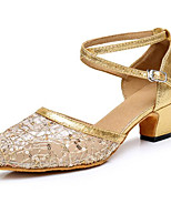 Недорогие -Жен. Обувь для модерна Синтетика На каблуках Толстая каблук Танцевальная обувь Золотой / Серебряный